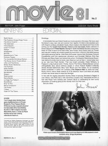 contents and editorial page of Australian movie magazine containing article about TIMES SQUARE (1980) relevant text: There's a hot new talent, Robin Johnson in Robert Stigwood's Times Square...