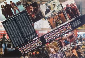 Movie 81 No. 2, February 1981, pp. 14-15  Text:  TIMES SQUARE  AN APPRAISAL BY TERRY O BRIEN  Like the music which accompanies it on a pulsating soundtrack of rock, Times Square is a story of the streets. It's about rebellion on a small scale, a search for some kind of basic freedom and a need to live life rather than simply exist. By setting the story in Times Square (surely the definitive microcosm of all that is good and bad in pre-packaged urban society), there's a perfect, ready-made background of excitement, urgency and even danger that is inherent in that milieu. Surviving day to day in this environment is Nicky Marotta (Robin Johnson) a free spirit with aspirations of becoming a rock star. Her very wayward, uncompromising manner lands her in a psychiatric hospital for tests. While there, she meets Pamela Pearl (Trini Alvarado), a shy girl whose personality, unlike Nicky's, has been submerged by her environment. She is, in fact, at quite the opposite end of the spectrum to Nicky. Moreover, Pamela's father is a politician who has promised to clean up the seedier side of Times Square. The two girls escape from the hospital and, in their own way, take on the establishment with acts that supposedly symbolise their rejection of the plastic culture. Their exploits are covered and encouraged by Johnny LaGuardia (Tim Curry), a disc-jockey who turns the couple into celebrities with a following which allows Nicky, ultimately, a brief moment of fame as a rock singer. Another aspect of the story is the effect that each of the girls has on the other. Nicky's life-style allows Pamela to experiment with her own and to break out of her protective shell. (It's interesting that once she has had her freedom she decides to return to her father, though, one suspects, on her own terms.) Conversely, the poetic and sensitive Pamela brings about a change in Nicky who finds she has her first real friend and, subsequently, a basis for believing in herself. Robin Johnson, in her movie d