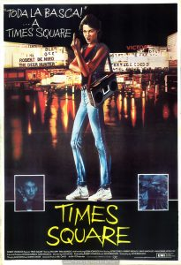 "TIMES SQUARE movie poster, Spain, 1981.  Text:  ""TODA LA BASCA!""  ... A  TIMES SQUARE TIMES  SQUARE ROBERT STIGWOOD Presents ""TIMES SQUARE"" Starring TIM CURRY·TRINI ALVARADO  And Introducing ROBIN JOHNSON  Also Starring PETER COFFIELD·HERBERT BERGHOF·DAVID MARGULIES·ANNA MARIA HORSFORD Executive Producers KEVIN McCORMICK·JOHN NICOLELLA  Directed by ALAN MOYLE  Produced by ROBERT STIGWOOD and JACOB BRACKMAN  Screenplay by JACOB BRACKMAN Story by ALAN MOYLE and LEANNE UNGER  Associate Producer BILL OAKES  An EMI-ITC Production  Soundtrack available on RSO Records and TAPES  RSO Distributed by EMI Films Limited.  EMI  A Member of the THORN EMI Group.  [""THE WHOLE GANG!"" ... TO TIMES SQUARE]"