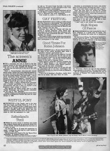 "Photoplay, Vol 32 No. 4, 4 April 1981, p. 62. Part of the multi-page column by (and titled) Paul Wilson.  Text:  Good Times For Robin Johnson  • ROBIN JOHNSON was a 15-year-old standing on the steps of her school, Brooklyn High, when a mysterious stranger approached her.  ""I know a part in a film you'd be ideal for,"" he told her. Robin was unimpressed. But the man (to this day she doesn't know who he was) persisted; gave her a number to call... and the rest, if it isn't exactly history, is the stuff of teenage fiction.  Robin signed a three-film contract including the lead in Times Square, a not particularly good movie — which somehow made Robin's performance seem all the more remarkable.  She's 16 now, with the sense of a 30-year-old, and an astonishing gift of non-stop conversation that floods from her lips in a voice as husky as Katharine Hepburn's.  ""I do a lot of shouting in Brooklyn, maybe that's why it's so deep,"" she says when we meet.  Brooklyn is unmistakably her home, and neither films nor wild horses will drag her away. ""I love it there, and I don't think I could take Los Angeles.""  Later this year she'll be making the Crease sequel, with Andy Gibb as co-star. But for the time being, it's back to school, where she's heading for a degree, hopefully in law.  ""I'm not sure I want to make acting, or singing, my full-time career. If this hadn't happened I would have gone in for law, and I'd still like to have something to give me the choice.  ""I don't want to get locked into anything.""  Times Square star, Robin Johnson, says her husky voice is due to ""a lot of shouting"""