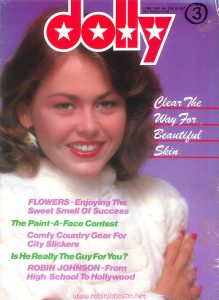 "The cover of Dolly No. 128, June 1981 teasing story ""Robin Johnson - From High School to Hollywood"""