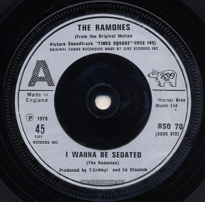 Side A, 45 RPM record RSO 70 (2090 512); UK single released on RSO Records to promote TIMES SQUARE and its soundtrack