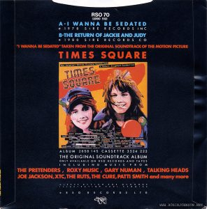 Picture sleeve back for 45 RPM record RSO 70 (2090 512); UK single released on RSO Records to promote TIMES SQUARE and its soundtrack