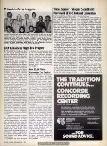 "Article from Record World Vol. 37 No. 1729, September 13, 1980, p. 9. Relevant text: 'Times Square,' 'Shogun' Soundtracks Previewed at RSO National Convention LOS ANGELES—Al Coury, president of RSO Records, in conjunction with Dreamland Records president Nicky Chinn and vice president Mike Chapman, recently hosted a weekend convention in Los Angeles for the national RSO field sales and promotion team. Products scheduled for release in the remainder of 1980 were presented at the meeting. The meetings featured audiovisual presentations as well as discussions of promotion and sales plans for RSO and Dreamland in the coming months. ... In addition, selected cuts from the Robert Stigwood motion picture ""Times Square"" were played, including the Dreamland single, ""Rock Hard,"" performed by Suzi Quatro and written by Chinn and Chapman. A forty-minute video presentation highlighting key scenes and music from the motion picture was shown."