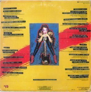 "TIMES SQUARE original soundtrack album, Mexico, 1981, back cover Text: LPR 16370 A2 ESTEREO 1 MCR 91010 Disco 1 Lado 1 ""ROCK HARD"" - SUZI QUATRO ROCK PESADO 3:18 PRODUCIDO POR MIKE CHAPMAN M. Chapman/N. Chinn (Chinnicap Publishing, Inc Admin. in the U.S.A. & Canada by Careers Music, Inc.) Cortesia de Dreamland Records, Inc. ℗ 1980 Dreamland Records. Inc. ""TALK OF THE TOWN"" - THE PRETENDERS HABLA DEL PUEBLO 3:16 PRODUCIDO POR CHRIS THOMAS C. Hynde (Al Gallico Music Corp.) Cortesia de Sire Records, Inc./Real Records ℗ 1980 REAL RECORDS ""SAME OLD SCENE"" - ROXY MUSIC LA MISMA EXCENA 3:54 PRODUCIDO POR ROXY MUSIC Y RHETT DAVIES B. Ferry (E. G. Music, Inc.) Cortesia de E.G. Records, Ltd./Atlantic Recording Corp./Polydor International ℗ 1980 Atlantic Recording Corporation ""DOWN IN THE PARK"" - GARY NUMAN EN EL PARQUE 4:20 PRODUCIDO POR GARY NUMAN G. Numan (Geoff & Eddie Music, Inc. and Blackwood Music Inc) Cortesia de Wea Records, Ltd.?Beggars Banquet Limited ℗1979 A. Beggars Banquet Recording ""HELP ME!"" - MARCY LEVY & ROBIN GIBB AYUDAME 3:37 PRODUCIDO POR ROBIN GIBB AND BLUE WEAVER R. Gibb/B. Weaver (Stigwood Music, Inc. (Unichappell Music, Admin.) ℗1980 Yam, Inc. Lado 2 ""LIFE DURING WARTIME"" - TALKING HEADS LA VIDA DURANTE LA GUERRA 3:40 PRODUCIDO POR BRIAN ENO Y TALKING HEADS D. Byrne (Index Music/Bleu Disque Music Co. Inc.) Cortesia de Sire Records, Inc./Real Records ℗ 1979 Sire Records Company ""PRETTY BOYS"" - JOE JACKSON CHICOS GUAPOS 3:21 PRODUCIDO JOE JACKSON J. Jackson (Albion Music, Ltd. (Admin by Almo Music Corp. in the U.S. & Canada) Cortesia de A. & M. Records, Inc. ℗1980 Multiplier N. V. ""TAKE THIS TOWN"" - XTC TOMEN ESTE PUEBLO 4:07 PRODUCICO POR STEVE LILLYWHITE A. Partridge (Nymph Music (Unichappell Music, Admin.) Cortesia de Virgin Records, Ltd. ℗1980 Virgin Records, Ltd. ""I WANNA BE SEDATED"" - THE RAMONES QUIERO ESTAR TRANQUILO 2:229 PRODUCIDO POR T. ERDELYI Y ED STASIUM The ramones (Bleu Disque Music Co. Inc./Taco Tunes, Inc.) Cortesi"