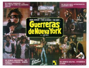 1981 Mexican movie poster for TIMES SQUARE (1980)  Text:  NO SOMOS CRIMINALES... Y SI NOS TRATAN COMO TAL USAREMOS ANTIFAZ  NO NECESITAMOS ANTIDEPRESIVOS QUEREMOS AMOR  NO SOMOS INOCENTES... NO SOMOS CULPABLES... SOMOS JOVENES  NO SOMOS GOLFAS... AYUDENOS A VIVIR  ORGANIZACION APOLO, S.A. Presenta a ROBIN JOHNSON • TRINI ALVARADO • TIM CURRY en Guerreras de Nueva York Director ALAN MOYLE  Un Film de Robert Stigwood   [WE ARE NOT CRIMINALS ... AND IF WE'RE TREATED THAT WAY WE'LL WEAR MASKS  WE DO NOT NEED ANTIDEPRESSANTS WE WANT LOVE  WE ARE NOT INNOCENT ... WE ARE NOT GUILTY ... WE ARE YOUNG  WE ARE NOT WHORES ... HELP US TO LIVE  APOLO ORGANIZATION, S.A. Presents ROBIN JOHNSON • TRINI ALVARADO • TIM CURRY in Warriors of New York Director ALAN MOYLE  A Film by Robert Stigwood]