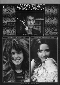 Film Review Vol 31 No 2 February 1981, p. 47  text:  HARD TIMES  Times Square is a movie about youth. New York and rebellion — with a prominent soundtrack of New Wave music. Two girls, from totally opposite backgrounds, find themselves thrown together in the same private ward undergoing psychiatric tests. In spite of their initial incongruity, the girls find a common link in that they have both been misunderstood for most of their young lives. In retaliation they escape their remedial surroundings and disappear into the heart of the Big Apple.  Nicky Marotta, the stronger, older and more street-wise of the two girls, instils a rebelliousness into the weaker, 12-year-old Pamela Pearl, and together they form a united attack against everything Pamela's father, and the bourgeois in general, stand for. Not before long the daring duo earn a certain infamy following a series of amusing and some rather more destructive pranks, including pilfering on the one hand and the levering of television sets off the top of New York apartment blocks on the other. With the assistance of a sympathetic DJ, the girls also gain air time and a wider notoriety, and are even allowed to sing their protest songs over the radio.  If it hadn't been for the casting of 15-year-old newcomer Robin Johnson as Nicky and Trini Alvarado (who played the lead in Robert Altman's Rich Kids) as Pamela, the film might well have lost a lot of the appeal it has. Tim Curry completes the billing as the DJ up against more than he can handle, with Peter Coffield as Pamela's short-sighted father.  Times Square is an EMI release and was directed by Alan Moyle, with songs by The Pretenders, Lou Reed, Suzi Quatro, Robin Johnson, and many others.  Times Square can also lay claim to being the first major release to present a look at New Wave music.  Tim Curry as the late-night DJ Robin Johnson as the rebellious Nicky Trini Alvarado as the introverted Pamela