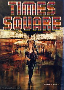 TIMES SQUARE Robin Johnson poster on the back cover of a movie magazine from Thailand