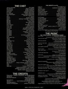 "UK Press Book for TIMES SQUARE, page 2 Text: THE CAST Johnny LaGuardia.. ..................TIM CURRY Pamela Peart..............................TRINI ALVARADO Nicky Marotta.............................ROBIN JOHNSON David Pearl...............................PETER COFFIELD Dr. Huber.....................HERBERT BERGHOF Dr. Zymansky..............................DAVID MARGULIES Rosie Washington........ANNA MARIA HORSFORD JoJo........................MICHAEL MARGOTTA Simon......................................J.C. QUINN Roberto..................................MIGUEL PINERO Heavy ...............RONALD ""SMOKEY"" STEVENS Blondell...................................BILLY MERNIT Blondell.............................PAUL SASS Blondell....................................ARTI WEINSTEIN Eastman.............................TIM CHOATE Disco Hostess.................ELIZABETH PENA Nurse Joan... .....................KATHY LOJAC Nurse May.....................SUSAN MERSON Don Dowd ....................GEORGE MORFOGEN Speaker.....................CHARLES BLACKWELL Stuntplayer.... .................BILL ANAGNOS Stuntplayer................ TAMMAS J. HAMILTON Stuntplayer................... FRANKLYN SCOTT Stuntplayer................................JANE SOLAR Stuntplayer.............VICTORIA VANDERKLOOT Dude.............................STEVE W. JAMES Plainclothes Cop.................JAY ACOVONE Magda..............................ALICE SPIVAK George........................... CALVIN ANDER Plainclothes Cop ..............PETER IACANGELO Young DJ.........................MICHAEL RINEY Policeman 1......................LOUIS BELERO Policeman 2......................GERALD KLINE Hold-Up Man............. ...........BEN SLACK Beer Vendor......................AARON HURST Beer Vendor ........................SEAN HUST Shop Owner...M............................PETER LOP1CCOLO T.V. Drop Kid ................ ROGER CAMACHO T.V. Drop Kid .....................STEVE PABON Daughter..........DANIELLE TILETNICK Daughter's Friend ................ DONNA SIROTA Movie Theater Reactor......... TULANE HOWARD II Waitress.......................,.KAREN EVANS Cigarette Girl.................RODI ALEXANDER Sleez Bag Vendor 1 ............RAMON FRANCO Sleez Bag Vendor 2.........................RIKI COLON Renaissance AKIDE.......MELANIE HENDERSON Cop On Marquee................ LARRY SILVESTRI Beer Buyers....... PAULA NAPLES, MANDY CAMERON Intern........................ SCOTT P. SANDERS Andy.............................TIGER HAYNES Sleez Girls.............CAMMI LYNN BUTTNER SARAH DOUGHERTY, AMY GABRIEL SANDRA LEE GOGA, PAMELA GOTLIN SHUNA LYDON, KELLY McCLORY MARLENA SEDA THE CREDITS Produced by ROBERT STIGWOOD, JACOB BRACKMAN Directed by....................ALAN MOYLE Executive Producers.........KEVIN McCORMICK JOHN NICOLELLA Screenplay by...............JACOB BRACKMAN Story by........ALAN MOYLE and LEANNE UNGER Associate Producer.............BILL OAKES Director of Photography...JAMES A CONTNER THE CREDITS (cont'd) Edited by........................................TOM PRIESTLEY Casting ..................BARBARA CLAMAN for BCI Special Casting......................MARGIE SIMKIN Extras Casting.......................LOUIS Di GIAIMO Production Manager ..............JUDITH STEVENS Assistant Director...................... ALAN HOPKINS 2nd Assistant Director........................ROBERT WARREN 2nd Unit Directors............................EDWARD BIANCHI JOHN NICOLELLA Unit Manager............................LOUFUSARO Location Manager.....................RON STIGWOOD Camera Operator......................ENRIQUE BRAVO Assistant Cameraman....... ..........HANK MULLER Script Supervisor....................SANDY McLEOD Makeup Artist....................PETER WRONA, JR. Hair Stylist.........................JUDI GOODMAN Wardrobe Supervisor..................KAREN EIFERT Stunt Coordinators.. JAMES LOVELETT, ALEX STEVENS Titles Design...........................DAN PERRI Opticals by.............................MOVIE MAGIC Filmed in PANAVISION and TECHNICOLOR and DOLBY STEREO On Locations in New York City THE MUSIC THE ""TIMES SQUARE"" SOUNDTRACK ALBUM ROCK HARD......................Performed by SUZI QUATRO Composed by MIKE CHAPMAN & NICKY CHINN TALK OF THE TOWN..........Performed by THE PRETENDERS Composed by CHRISSIE HYNDE SAME OLD SCENE.................Performed by ROXY MUSIC Composed by BRYAN FERRY DOWN IN THE PARK .... Performed & Composed by GARY NUMAN HELP ME!............Performed by MARCY LEVY & ROBIN GIBB Composed by ROBIN GIBB & BLUE WEAVER LIFE DURING WARTIME.......Performed by TALKING HEADS Composed by DAVID BYRNE PRETTY BOYS.........Performed & Composed by JOE JACKSON TAKE THIS TOWN.......................Performed by XTC Composed by ANDY PARTRIDGE I WANNA BE SEDATED ............Performed & Composed by The RAMONES DAMN DOG..................Performed by ROBIN JOHNSON Composed by BILLY MERNIT and JACOB BRACKMAN YOUR DAUGHTER IS ONE ....... Performed by ROBIN JOHNSON & TRINI ALVARADO Composed by BILLY MERNIT, NORMAN ROSS & JACOB BRACKMAN BABYLON'S BURNING................Performed by THE RUTS Composed by JOHN JENNINGS, DAVE RUFFY MALCOLM OWEN, PAUL FOX YOU CANT HURRY LOVE............Performed by D. L BYRON Composed by HOLLAND, DOZIER, HOLLAND WALK ON THE WILD SIDE Performed & Composed by LOU REED THE NIGHT WAS NOT Performed by DESMOND CHILD, & ROUGE Composed by DESMOND CHILD INNOCENT, NOT GUILTY...........Performed & Composed by GARLAND JEFFREYS GRINDING HALT............. ...... Performed by THE CURE Composed by TOLHURST DEMPSEY SMITH PISSING IN THE RIVER .... Performed & Composed by PATTI SMITH FLOWERS IN THE CITY.......Performed by DAVID JOHANSEN & ROBIN JOHNSON Composed by DAVID JOHANSEN & RONNIE GUY Additional Music by BLUE WEAVER Special thanks to JIMMY IOVINE, JOHN PACE, and D.L BYRON BAND (FOR ""DAMN DOG"") Original Soundtrack Album Available On RSO RECORDS AND TAPES"