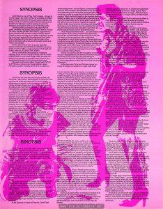 """UK Press Book for TIMES SQUARE, p. 3, containing synopses of the story in three languages. Text: SYNOPSIS 42nd Street is one of New York's busiest - it leads to Times Square, the centre of the city's night-life and filled with colourful characters. Winos, pimps, prostitutes and junkies rub their sordid shoulders with the thousands of tourists and sightseers out fun-seeking to catch the infectious atmosphere of the heart or the Big Apple"""". Noisily trundling a shopping cart, filled with her guitar, amplifier and battery, along 42nd Street is 16-year-old Nicky Marotta (ROBIN JOHNSON), a girl who has lived most of her life on these rough and lively streets. Outside a disco she plugs in her guitar and begins to play her own music against the thumping beat from within. When a hostess from the disco calls the police, they arrive to be faced with a stream of four-letter words and Nicky's switchblade. On the other side of town in a posh East Side apartment Pamela Pearl (TRINI ALVARADO) sits alone, tuned in to the mellow words and music of all-night disc jockey Johnny LaGuardia (TIM CURRY). Now in custody and recognised as a habitual offender, Nicky is in the charge of Rosie (ANNA MARIA HORSFORD), a concerned social worker who tells her that she is to be taken to hospital to see if there is any psychological reason for her anti-social behaviour. The next day Pamela's father, David Pearl (PETER COFFIELD), a widower and rising politician, takes Pamela to a public meeting where he is to outline his newest assignment - as the Mayor's Commissioner to clean up Times Square. His dedication to his career and lack of attention to his introverted young daughter have made him unable to recognise her loneliness and mental anguish. When she finds herself on the meeting platform beside her father she is mortified with embarrassment and when David refers to her in his speech, she bolts for the ladies rest room in tears. Anxious for a speedy solution to the inconvenience of having a sick dau"""