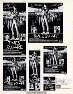 "UK Press Book for TIMES SQUARE, p. 12: advertisement sizes Text: 8"" dc 5"" dc 6"" tc 6"" sc 4"" dc 2"" sc EMI Films Limited Film House, 142 Wardour Street London W1A 3BY Tel: 01-437 0444 Cables: ANGLEMI LONDON W1 Telex: 22760 EMIDIS G EMI A member of the Thorn EMI Group"