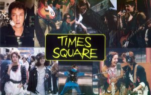 UK Press Book for TIMES SQUARE, pages 6-7: photo montage center spread.  Text:  TIMES SQUARE