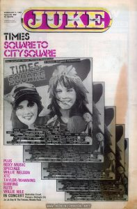 "Cover of an Australian music newspaper weekly containing several stories relating to TIMES SQUARE (1980)  Text:  JUKE  FEBRUARY 7, 1981  Issue No. 302  70 CENTS  ""Registered for posting as Publication Category B""  TIMES SQUARE TO  CITY SQUARE  PLUS ROXY MUSIC SPECIALS  WILLIE NELSON  XTC TAYLOR/MANNING  SURFING  RUTS WILLIE NILE  IN CONCERT  Australian Crawl, Flowers, Midnight Oil, Jo Jo Zep & The Falcons, Mondo Rock"