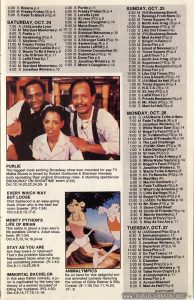 Page 11 of the October 1981 TV listings for Showtime and The Movie Channel, with showtimes for TIMES SQUARE (1980): SUNDAY, OCT. 25 8:30 M Times Square (R) p.4 5:00 M Times Square (R) p.4 1:00 M Times Square (R) p.4 TUESDAY, OCT. 27 12:00 M (PM)Times Square (R) p.4