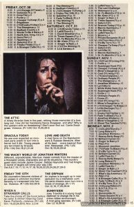 Page 15 of October 1981 TV listings for Showtime and The Movie Channel, with listings for TIMES SQUARE (1980) on Oct. 31 Relevant text: SATURDAY, OCT. 31 8:00 M Times Square(R) p.4 6:30 M Times Square (R) p.4