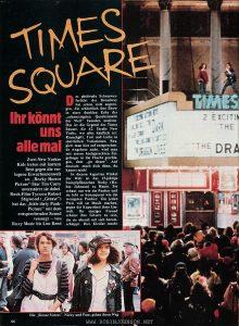 """Cinema Vol. 49 No. 6, June 1982, p. 66, containing the first page of an article promoting TIMES SQUARE (1980). Text: TIMES SQUARE Ihr könnt uns alle mal Zwei New Yorker Kids treten mit hartem Beat gegen die verlogene Erwachsenenwelt an. """"Rocky Horror Picture""""-Star Tim Curry unterstützt sie dabei. Rock-Film-Tycoon Robert Stigwood (""""Grease"""") hat das ,,little dirty Punk-Picture"""" mit dem entsprechenden Sound versorgt — von Roxy Music bis Lou Reed Das gleißende Scheinwerferlicht des Broadway hat schon viele angezogen, die schließlich ihre Show in einer dunklen Ecke der """"schmutzigsten Quadratmeile der Welt"""" beenden mußten. Das ist die Gegend des Times Square, die 42. Straße New Yorks, wo alles käuflich ist: Rauschgift, Tod und Liebe in sämtlichen Variationen. Reagiert man hier auf entsprechende Angebote nicht, wird man mit einem hochgereckten Zeigefinger in die Flucht geschlagen, dem """"go sleaze"""". Auf deutsch: mach dich dünn, du kannst mich! In diesem kaputten Winkel der Welt ist das 15-jährige Sumpfpflänzchen Nicky (Robin Johnson) zu Hause. Sie schaut aus wie ein Punker und sie lebt so konsequent wie die wenigsten Punker: Um jeden Preis will sie Musik machen, gegen die Kaputtheit ihrer Umwelt. Ihr einziger Freund scheint ihre Gitarre zu sein, die sie überall mit sich herumschleppt. Ihre Kleider macht Die """"Sleaze Sisters"""", Nicky und Pam, gehen ihren Weg [Translation: TIMES SQUARE You can all suck it Two New York kids kick the mendacious adult world with a hard beat. """"Rocky Horror Picture"""" star Tim Curry supports them. Rock film tycoon Robert Stigwood (""""Grease"""") has provided the """"little dirty punk picture"""" with the appropriate sound - from Roxy Music to Lou Reed Broadway's gleaming spotlight has already attracted many who finally put their show in a dark corner of the """"dirtiest square mile of the world """". This is the area of Times Square, 42nd Street in New York, where everything is for sale: drugs, death and love in all its variations. If you don't take the deals, you will"""