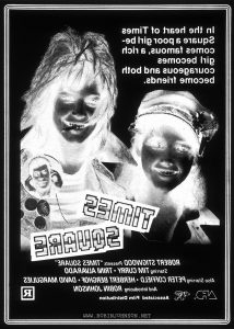 "Negative of newspaper ad for TIMES SQUARE (1980).  Text:  In the heart of Times Square a poor girl be- comes famous, a rich girl beomes courageous and both become friends.  TIMES SQUARE  ROBERT STIGWOOD Presents ""TIMES SQUARE"" Starring TIM CURRY · TRINI ALVARADO Also Starring PETER COFFIELD · HERBERT BERGHOF · DAVID MARGULIES And Introducing ROBIN JOHNSON AFD™ RSO® Associated Film Distribution R"