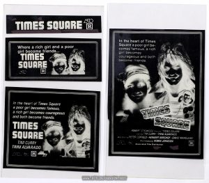 Negatives for four newspaper ads for TIMES SQUARE (1980) with images not reversed