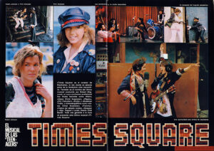 "First two pages of a three-page article about TIMES SQUARE (1980). [Text:] TIMES SQUARE EL MUSICAL DE LAS ""TEEN-AGERS"" «Times Square» es el corazón de Manhattan, la isla donde se asienta parte de la fantástica urbe neoyorkina. También es el nombre del último musical producido por Robert Stigwood, en cuyo currículum profesional hay títulos teatrales como «Hair», «Jesús Christ Superstar», «Pippin», «Oh! Calcuttal», «Evita» y «Sweeney Todd», y cinematográficos como «Jesús Christ Superstar», «Tommy», «Fiebre del sábado noche», «Grease» y «Sgt. Peppers Lonely Hearts Club Band». Toda una garantía a la hora de presentar este último musical «Times Square». Robín Johnson y Trini Alvarado Trini Alvarado Las adolescente en la noche neoyorkina La escapada del hospital psiquótrico Robín Johnson Una oportunidad para ambas de expresarse. [Translation:] TIMES SQUARE THE MUSICAL OF THE ""TEENAGERS"" ""Times Square"" is the heart of Manhattan, the island where part of the fantastic New York City sits. It is also the name of the latest musical produced by Robert Stigwood, in whose professional curriculum are theatrical titles such as ""Hair"", ""Jesus Christ Superstar"", ""Pippin"", ""Oh! Calcutta!"", ""Evita"" and ""Sweeney Todd"", and movies such as ""Jesus Christ Superstar"", ""Tommy"", ""Saturday Night Fever"", ""Grease"" and ""Sgt. Peppers Lonely Hearts Club Band"". A guarantee when presenting this latest musical ""Times Square"". Robín Johnson and Trini Alvarado Trini Alvarado Teenage girls in New York night The escape from the mental hospital Robin Johnson A chance for both of us to express ourselves."