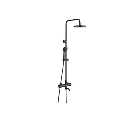 Black Exposed Shower System with Round Head Shower (D051793)
