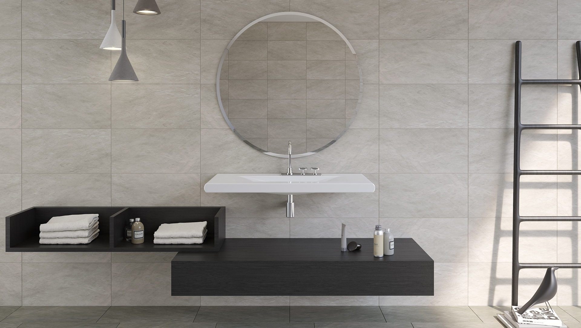 Heritage Cement Tile Collection with Flo Bathware Collection