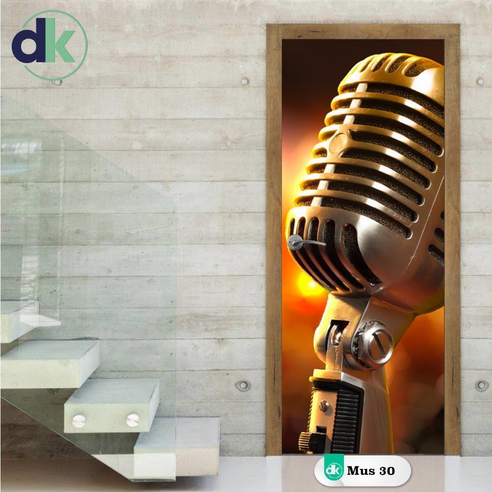 Adesivo de Porta - Microfone