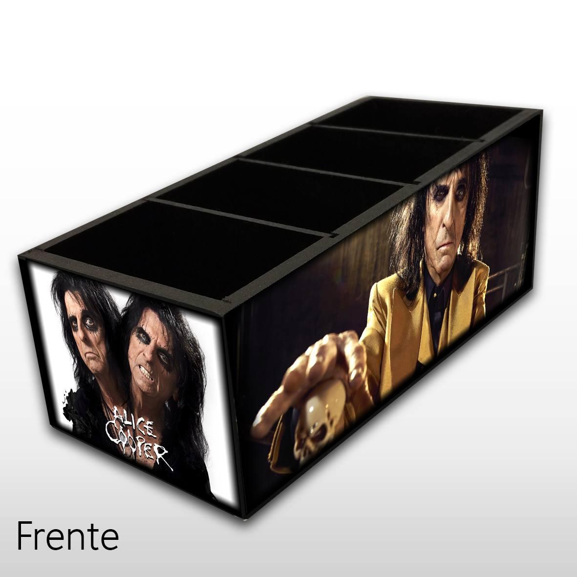 Alice Cooper - Porta Controles em Madeira MDF - 4 Espaços - Mr. Rock