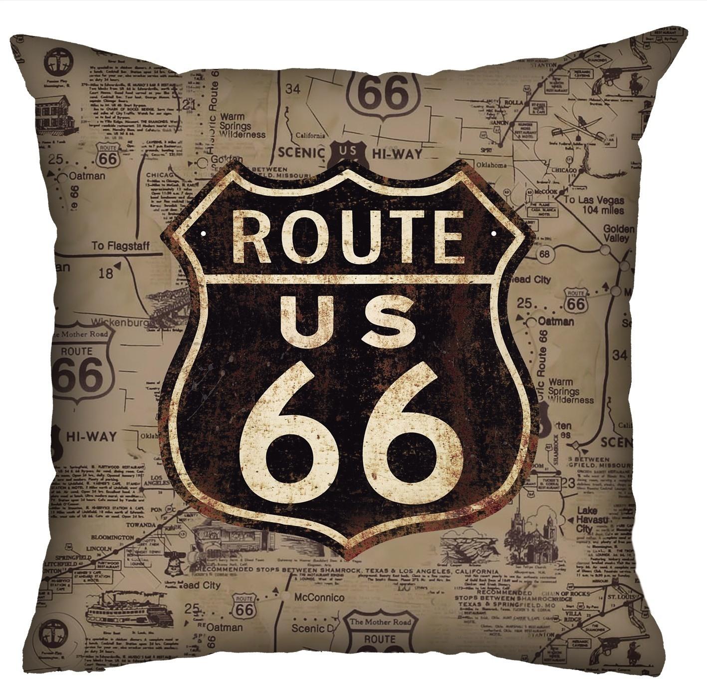 Almofada Rock Use - Route 66 (Sépia)