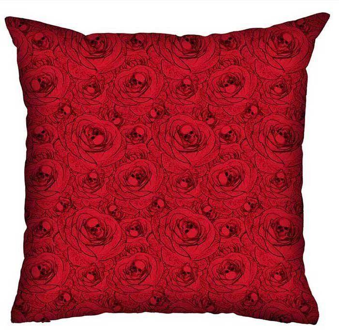 Almofada Rock Use - Skulls & Roses (Vermelho)