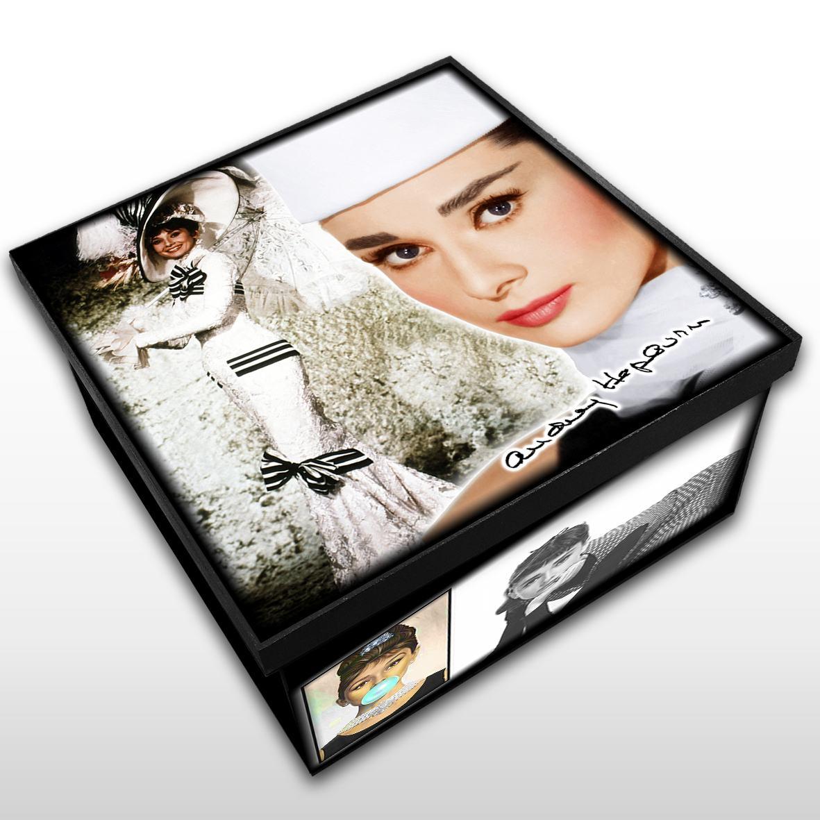 Audrey Hepburn - Caixa em MDF - Tam. Médio - Mr. Rock