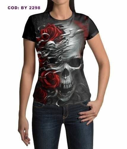 Baby Look Feminina Caveira e Rosas Heavy Metal