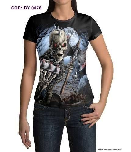 Baby Look Skull Rock N´Roll Caveira com Machado