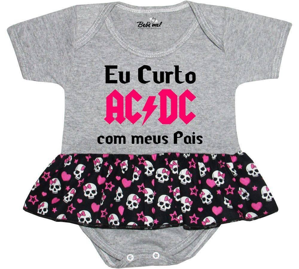 Body Saia Bebê personalizado Eu curto AC  DC com meus pais