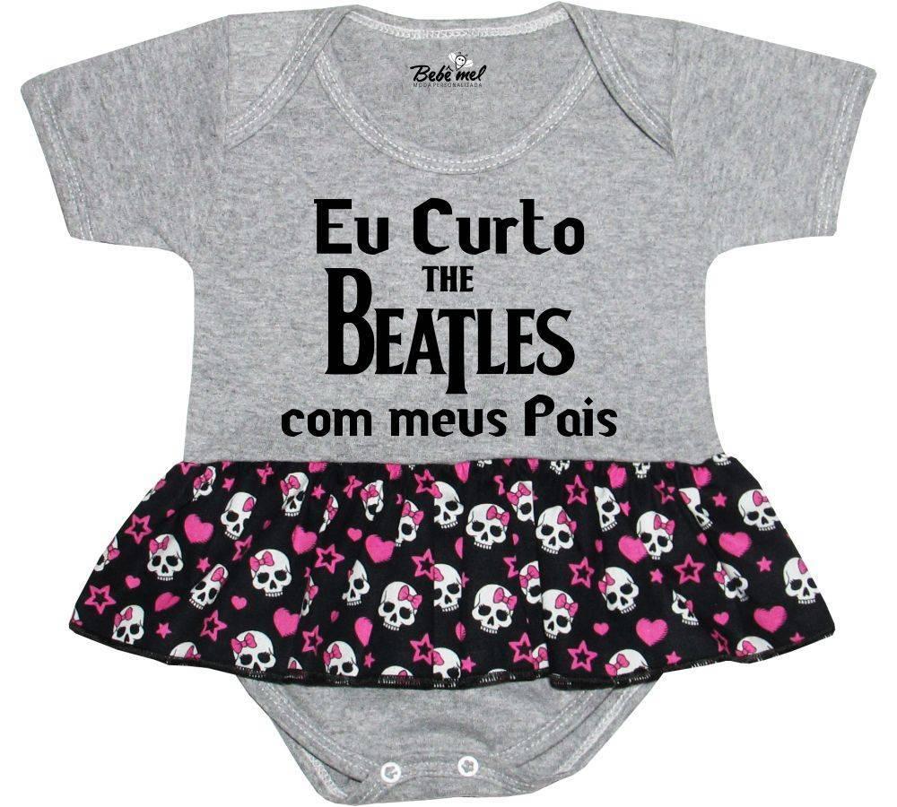 Body Saia Bebê personalizado Eu curto Beatles com meus pais