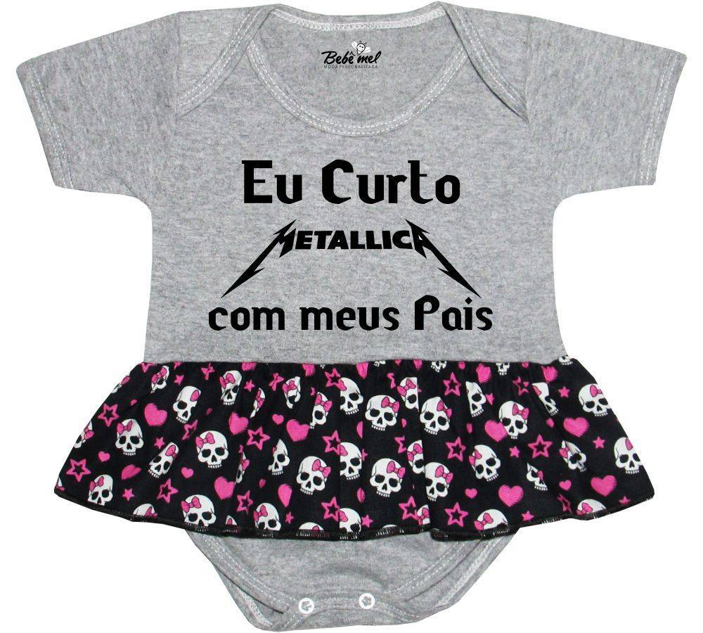 Body Saia Bebê personalizado Eu curto Metallica com meus pais
