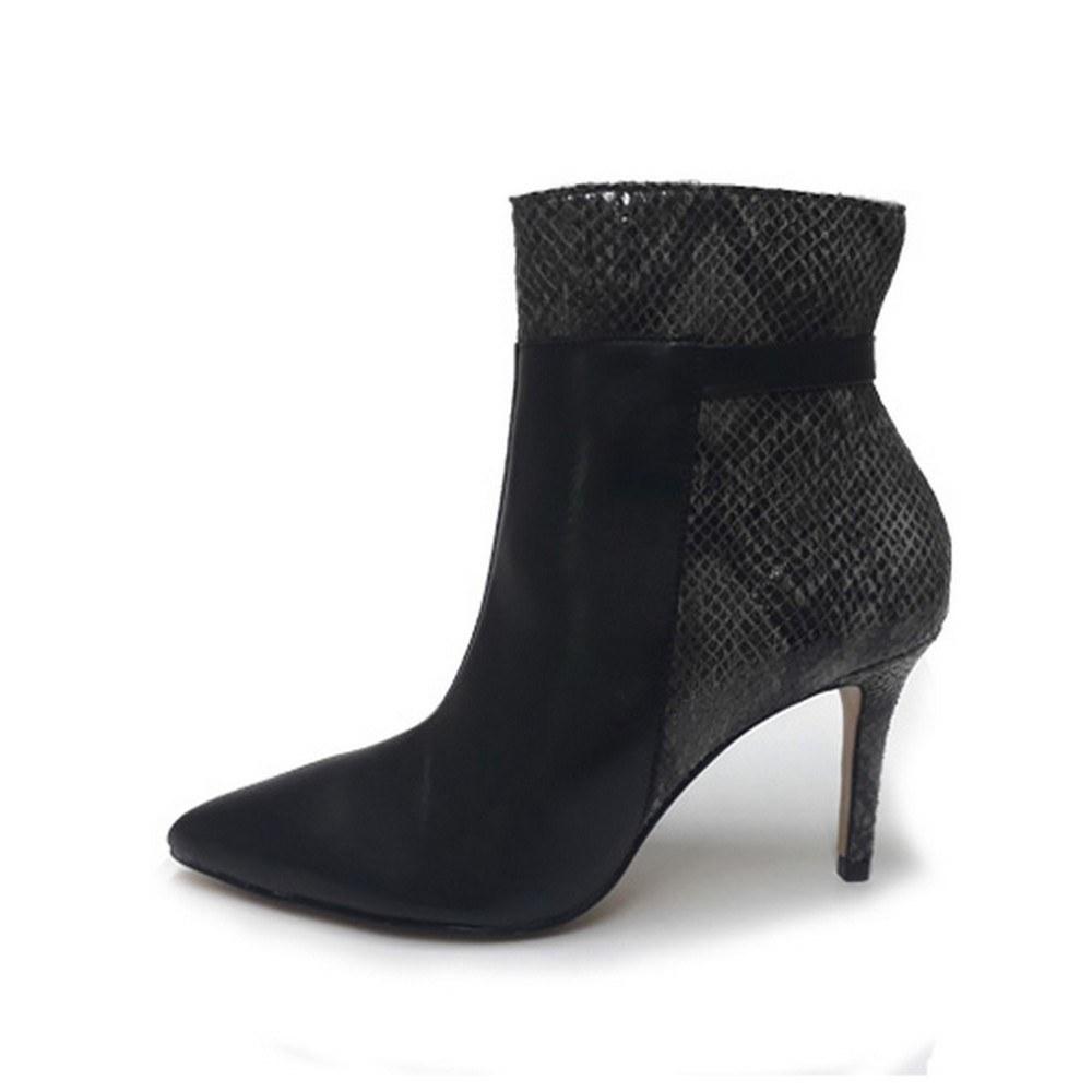 Bota Bico Fino Conceito Fashion 90301 Napa Preta Cobra Feminino