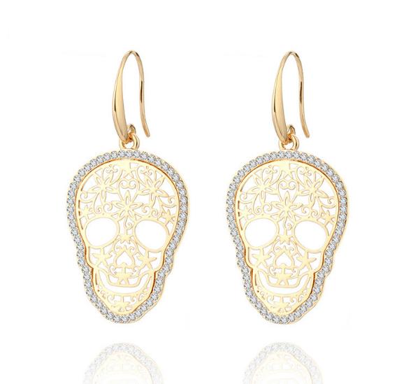 Brinco Skull Cristal Dourado – SkullAchando