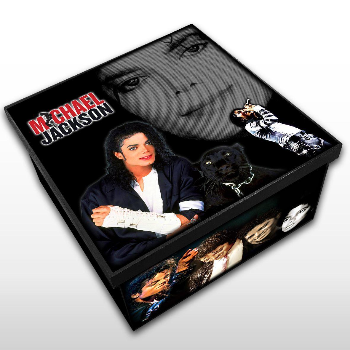 Michael Jackson - Caixa Organizadora em Madeira MDF Tamanho - Médio Mr. Rock