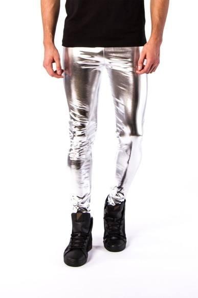 Calça Masculina Megging em Lamê Extra Brilho Prata Lisa