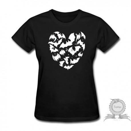 Camiseta Baby Look Feminina Coração Morcegos Preta