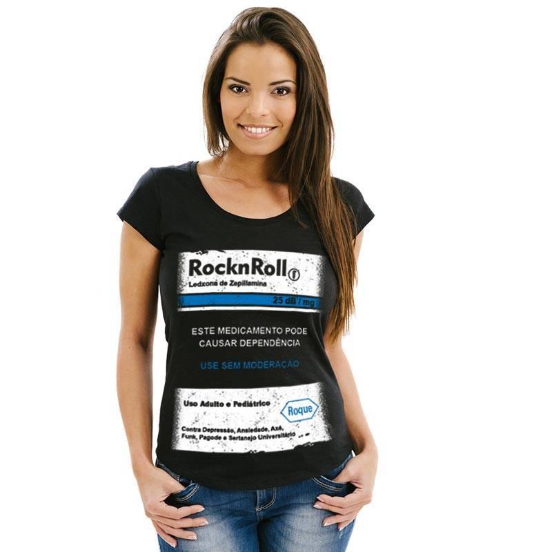 Camiseta feminina Rock n' Roll Tarja Preta