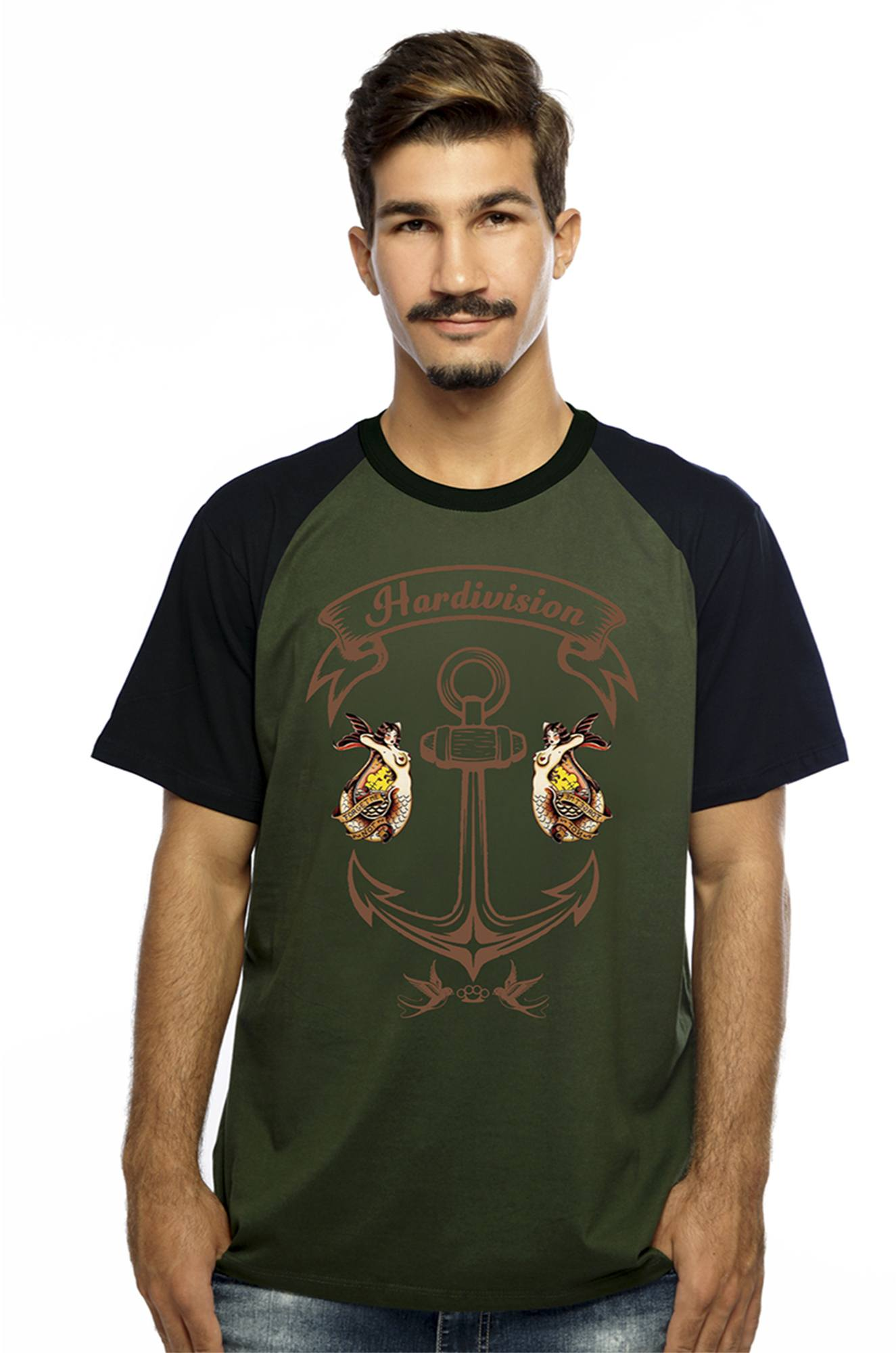 Camiseta Hardivision Ancora Manga Raglan Curta Verde