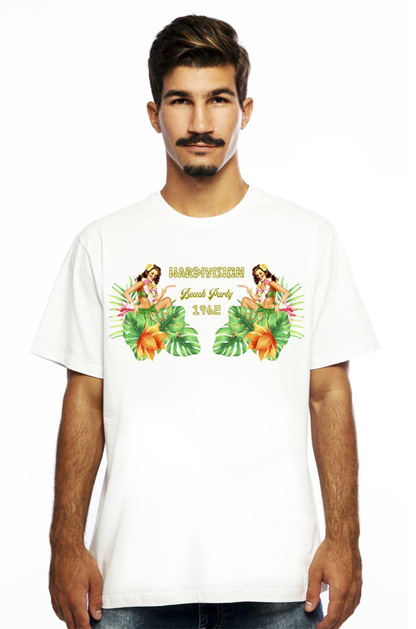 Camiseta Hardivision Beach Manga Curta Branca