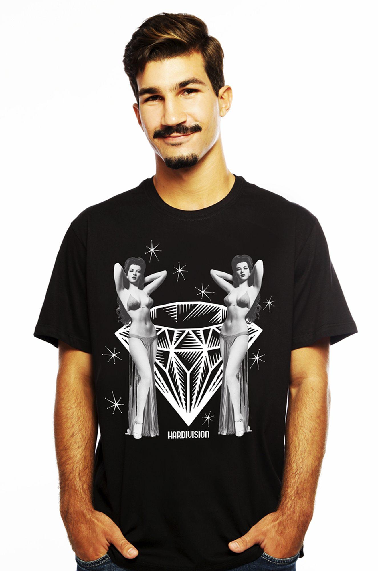 Camiseta Hardivision Burlesque Manga Curta Preto