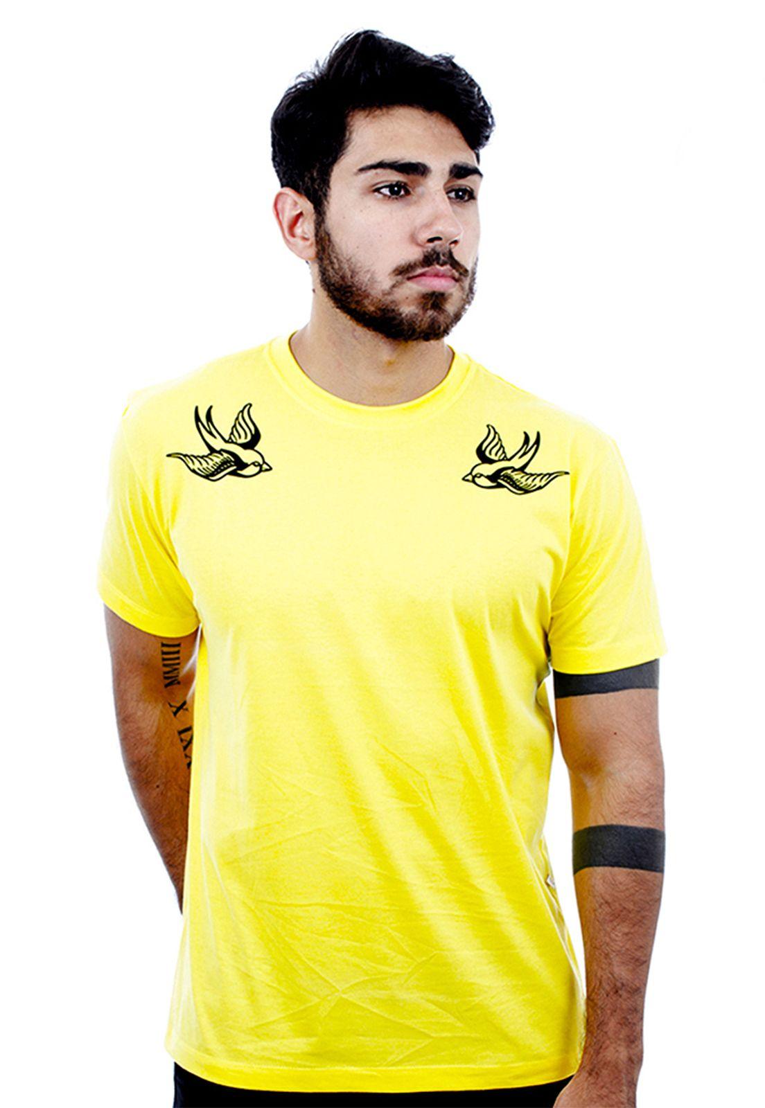 Camiseta Hardivision Andorinhas Manga Curta Amarelo