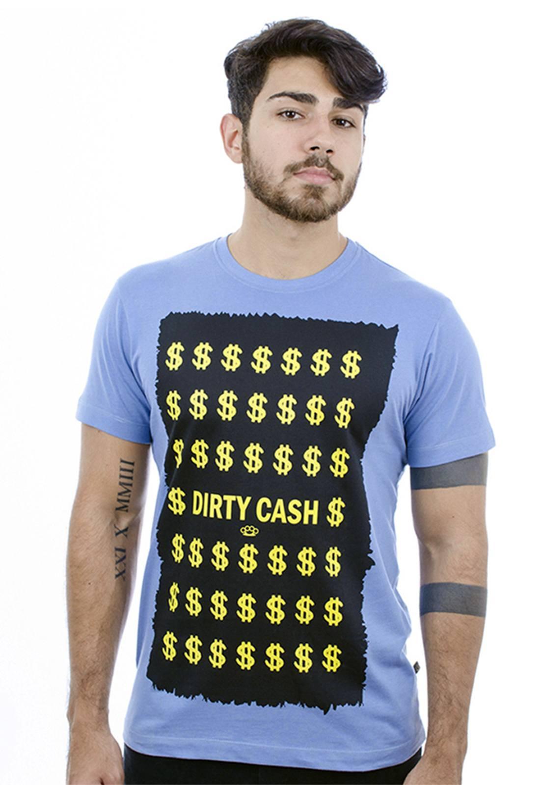 Camiseta Hardivision Dirty Cash Manga Curta Azul
