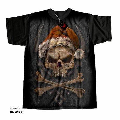 Camiseta unissex Caveira De Natal - Santa Claus Skull