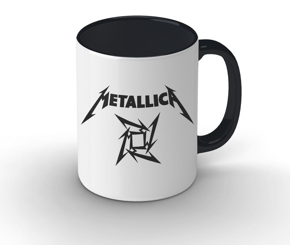 Caneca cerâmica branca com alça e interior preto - Metallica