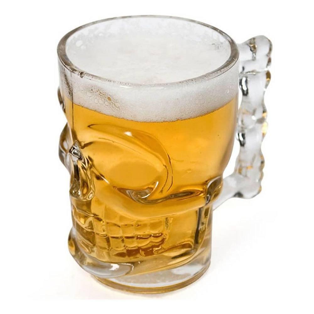 Caneca Chopp Cerveja Vidro Caveira Rock 510 ml Presentes Super