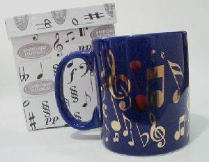 Caneca Musical Azul Marinho Símbolos Musicais - EM1141